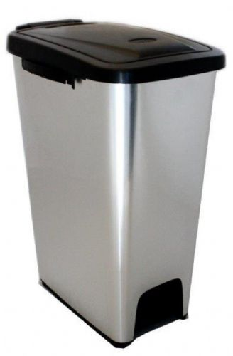 16 Litre Slim Plastic Pedal Bin Metal Look fitted with inner liner